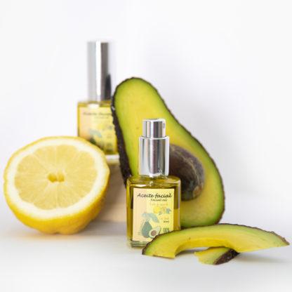 Aceite facial de aguacate con esencia natural de limón
